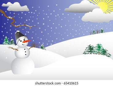Winter scene with a snowman in the foreground. vector illustration.