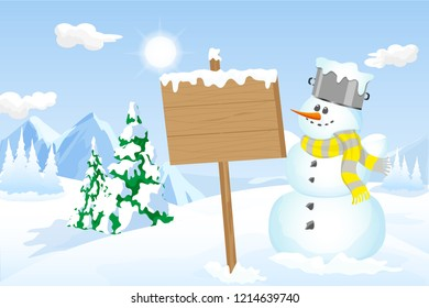 Winter scene with snowman holding a wood sign with copy space