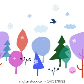 Winter scene with trees, snow and birds - seamless banner. Vector graphic illustration