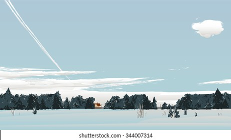 Winter scenery with clouds and plane trail.