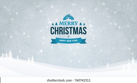 Winter scenery landscape background with fir trees. Christmas and New Year typographical label on the minimal background with falling snow and snowflakes. Vector Illustration.