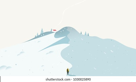 Winter scenery landscape, man climbing snow mountain to small house in the peak