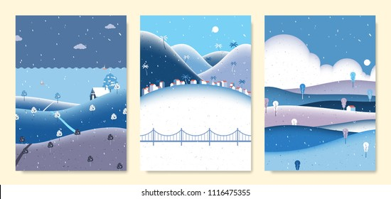 Winter scenery landscape, small house on the hill with sea, seaside small village with mountains and small house on the hill with clouds