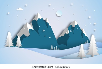 Winter scenery  landscape with snowy mountains, pines trees and hills in paper cut craft style design, vector illustration