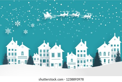 winter scenery on christmas day. there are houses and santa claus. paper art design