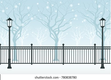 Winter scenery. Snow drifts in park, street lamp and fence graphic vector