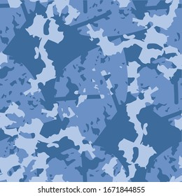 Winter or sea camouflage of various shades of blue color. It is a colorful seamless pattern that can be used as a marine camo print for clothing and background and backdrop or computer wallpaper