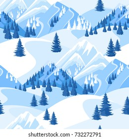 Winter seamless pattern. Beautiful landscape with snowy mountains and fir forest.