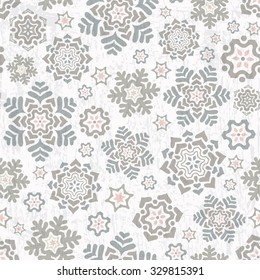 Winter seamless pattern with beautiful snowflakes. Vector illustration