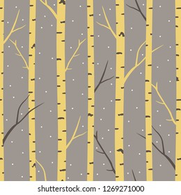 Winter seamless pattern with birch trees.