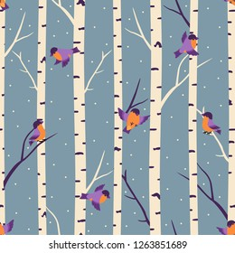 Winter seamless pattern with bullfinches and birch trees.