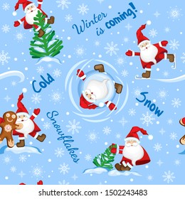 Winter seamless pattern winter is coming. Santa Claus in various winter situations. On a light blue background with white snowflakes