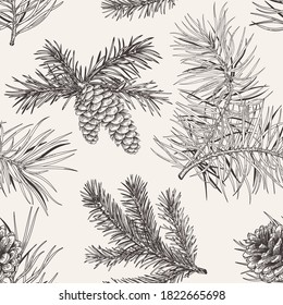 Winter seamless pattern with conifers. Christmas print. Botanical vector illustration. Winter background. Black and white.