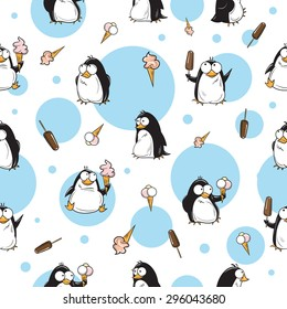 Winter seamless pattern with cute cartoon penguins and ice cream on a white background.
