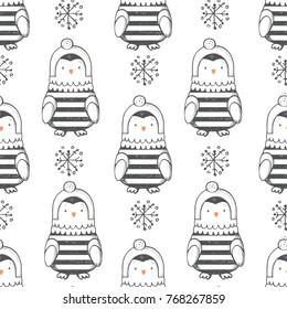winter seamless pattern with cute little penguin.Cartoon hand drawn vector illustration.