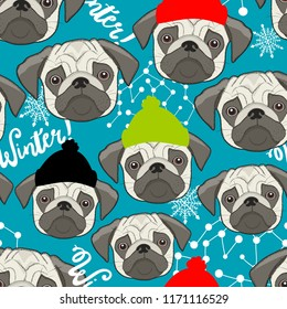 Winter seamless pattern with cute pugs faces. Vector wallpaper of pet in hat.