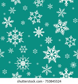 Winter seamless pattern with flat white snowflakes on aquamarine blue background. New Year backdrop. Vector Christmas background for fabric, textile, wrapping paper, card, invitation, wallpaper.