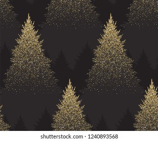 Winter Seamless Pattern with Gold Fir Trees and Pines in Snow. Coniferous Forest. Christmas Decoration. Vector illustration