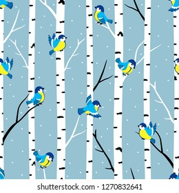 Winter seamless pattern with great tits and birch trees.