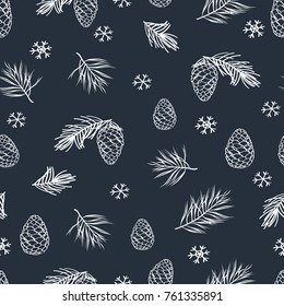 Winter seamless pattern with hand drawn cones and pine spruce. Hand drawn Christmas, New Year elements with chalk on the blackboard. Vector illustrator.