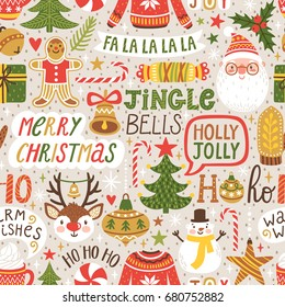 Winter seamless pattern with hand written typography and Christmas cartoon characters. Cute vector background with Santa Claus, reindeer, snowman. Repeating texture for New Year holidays.