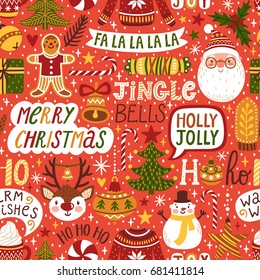Winter seamless pattern with hand written typography and Christmas cartoon characters. Cute vector background with Santa Claus, reindeer, snowman. Red repeating texture for New Year holidays.