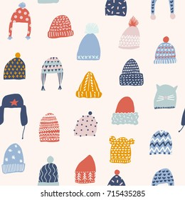 Winter seamless pattern with hats in vector. Christmas illustration collection.