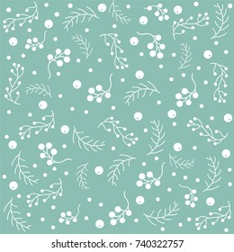 Winter Seamless pattern with pine branches, berries and twigs. Great for wall art design, gift paper, wrapping, fabric, textile, etc.