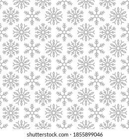 Winter seamless pattern with silver grey snowflakes on white background. New Year backdrop. Vector flat symmetric Christmas ornament for fabric, textile, wrapping paper, card, invitation, wallpaper