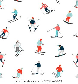 Winter seamless pattern with snowboarders and skiers skiing downhill. Mountain sport activities. Man and woman dressed in winter clothing in the ski resort. Vector group smiling people on white