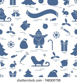 Winter seamless pattern with variety Christmas elements:  tree, balls, petard, scarf, Santa Claus, bell, gifts and other. Design for banner, flyer, poster or print.