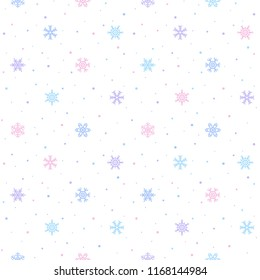 Winter seamless pattern with various pink, blue, violet snowflake crystal. Simple flat design, regular snow texture. Dots, spots, specks, flecks, blobs. New Year, Christmas holiday colorful background