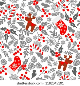 Winter seamless vector pattern with holly berries, candy, deer, christmas socks. Part of Christmas backgrounds collection. Can be used for wallpaper, pattern fills, surface textures,  fabric prints.