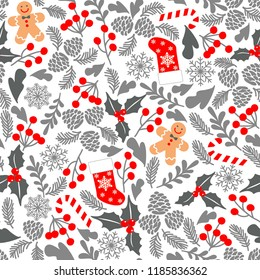 Winter seamless vector pattern with holly berries, candy, gingerbread Man, christmas socks. Part of Christmas backgrounds collection. Can be used for wallpaper, pattern fills, surface textures, fabric