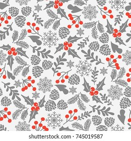 Winter seamless vector pattern with holly berries. Part of Christmas backgrounds collection. Can be used for wallpaper, pattern fills, surface textures,  fabric prints.