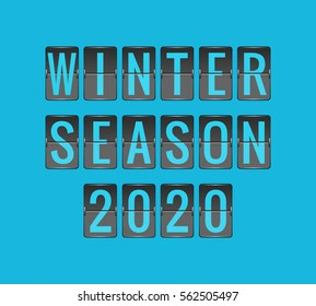 WINTER SEASON 2020, vector scoreboard, departure board for seasonal promotions, black and blue flip sign isolated on blue background
