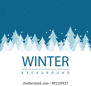 Winter season background with forest snow and blue sky. seasonal layout invitation poster. business abstract illustration concept. Vector decorative greeting card. winter sale flyer for advertisement
