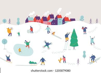Winter season background people characters. Winter outdoor activities. People have fun. Flat vector illustration.