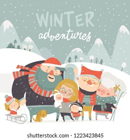 Winter season background people characters. Winter outdoor activities. People have fun