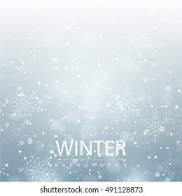 Winter season background with snow flake. seasonal layout invitation poster. business abstract illustration concept. Vector decorative greeting card. winter flyer for marketing advertisement design