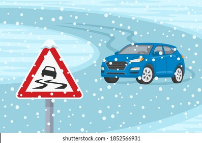 Winter season car driving. Suv car turning on a slippery road. Slippery road warning road sign. Flat vector illustration template.