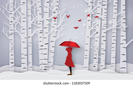 winter season with the girl in red coat and the bird in the jungle. Paper art and craft style.