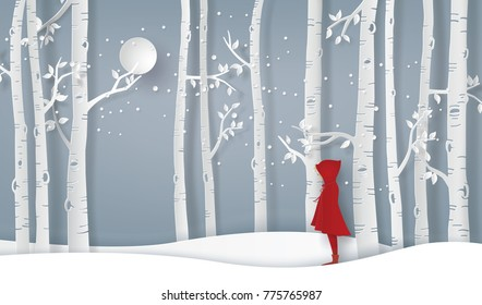 winter season with the girl wear red topcoat in the forest. Paper art and  digital craft style.