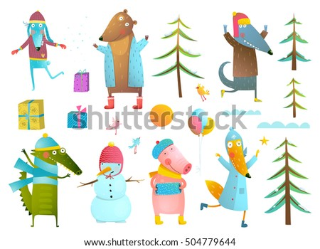 winter season holiday animals clip art collection for kids cute animals collection wearing warm clothes