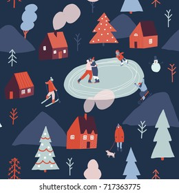 Winter season illustration with people are skiing, ice skating, sledding. Christmas seamless pattern.