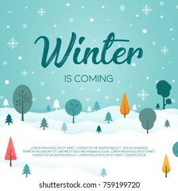 Winter season landscape with christmas tree and snow vector background