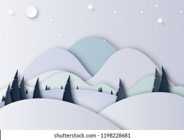 Winter season landscape with snow,pine forest and mountains for merry christmas and happy new year background paper art style.Vector illustration.