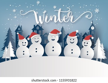 Winter season and Merry Christmas with snow man , Paper art concept