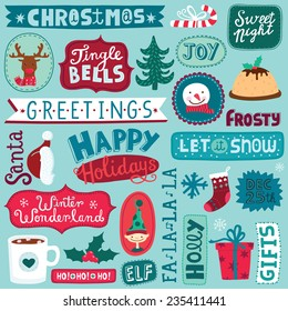 Winter season pattern. Different Christmas and New Year objects background. Hand-drawn lettering. Vector illustration.