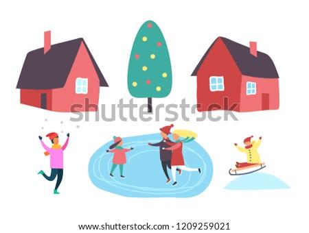 5dca580da Winter Season People Outdoor Having Fun Stock Vector (Royalty Free ...